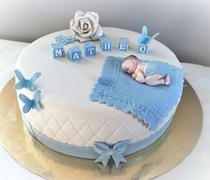 Dåpskake gutt Panda Birthday Cake, Baby First Birthday Cake, First Birthday Cakes, Baby Shower Cake Designs, Baby Shower Cakes For Boys, Baby Boy Cakes, Cake Decorating Designs, Creative Cake Decorating, Gateau Baby Shower Garcon