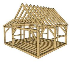 Post and Beam Cabin with Porch - Timber Frame HQ Diy Shed Plans, Storage Shed Plans, Cabin Plans, House Plans, 10x12 Shed Plans, Shed Cabin, Lean To Shed Plans, Diy Cabin, Wood Shed Plans