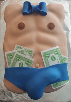 Male Stripper Bachelorette Cake - By Badabing Cakes
