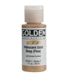 Golden Fluid Acrylic Paint 1oz-Iridescent Gold Deep