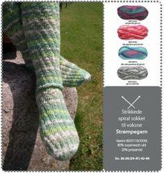 Strikkede spiralsokker til voksne Spiralsokker til voksne. Strik luner sokker till een du holder af. - stof2000.dk Knit Crochet, Socks, Knitting, Happy, Threading, Creative, Tricot, Breien, Crochet