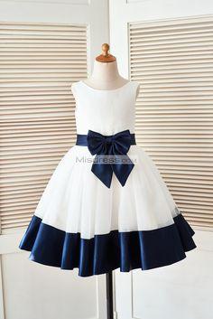 Ivory Satin Tulle Flower Girl Dress with Navy Blue Belt Bow - Klader Ideer African Dresses For Kids, African Fashion Dresses, Little Girl Dresses, Girls Dresses, Pageant Dresses, Bow Dresses, Blue Flower Girl Dresses, Rent Dresses, Ghanaian Fashion