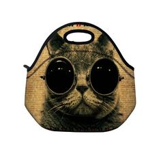 Cat wearing sunglasses lunch bag | Coolest lunch bags and boxes for back to school