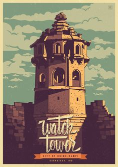 Discover India - Hampi, the City of ruins, a retro poster series by Ranganath Krishnamani. Ranganath Krishnamani, a Bangalore, India based designer and ill