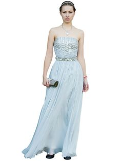 Silver Ruche Evening Dress with Embroidery (80612)  £175.00  Stunning strapless evening dress in silver featuring a creative beaded embroidery from the front to the waist and a full length flawy skirt.