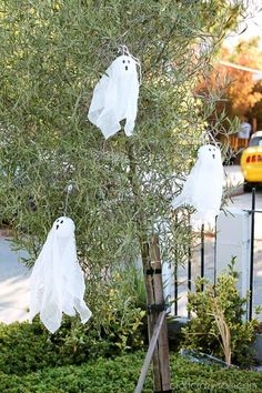 DIY Halloween : DIY 5 minute cheesecloth ghosts