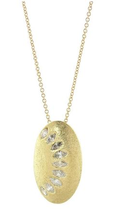 Todd Reed oval pendant with diamonds in 18k yellow gold.