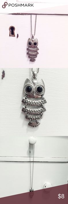 Owl Necklace **ALL MY NECKLACES ARE BUY ONE GET ONE (of equal or lesser value) FREE!!!** This is a silver owl necklace with black rhinestone eyes. Un-clasped end to end the chain measures 18 inches long. The owl figurine is 2 inches long. Jewelry Necklaces