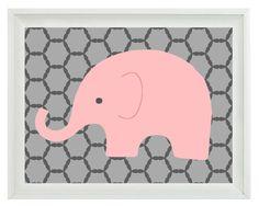 Elephant Nursery Wall Art Print - Pink Gray Decor - Children Kid Baby Girl Room - Wall Art Home Decor 8x10 Print. $15.00, via Etsy.