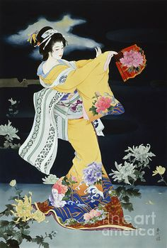 (Japan) Geisha with fan by Haruyo Morita ). Geisha Art, Japan Painting, Art Asiatique, Japanese Quilts, Art Japonais, Japanese Geisha, Japan Art, Japanese Artists, Japanese Culture