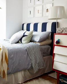 Our Galaxy Duvet Set on A CUP OF JO: Home makeover: The nursery!    LOVE it paired with classic stripes. brilliant.