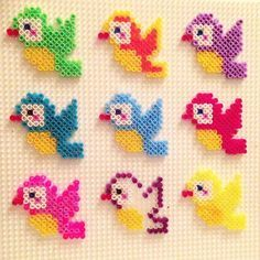 Birds hama mini beads by ingenpingvindirekt Perler Bead Templates, Diy Perler Beads, Pearler Bead Patterns, Perler Patterns, Pearler Beads, Perler Bead Mario, Hama Beads Design, Beads Pictures, Iron Beads