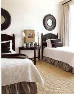 Neutral Guest Room Brown Bed Skirt White