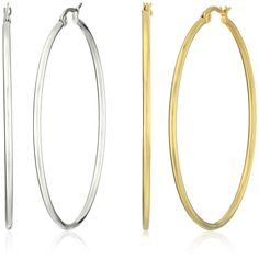 Stainless Steel Hoop Earring Two-Pair Set } Check this awesome product  at this…