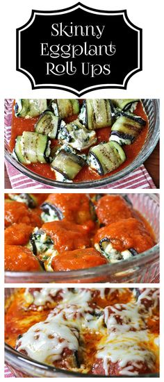 Skinny Eggplant Roll Ups Japanese Eggplant with a creamy low fat ricotta filling with your favorite marinara sauce. - Recipes, Food and Cooking(Baking Eggplant) Low Carb Recipes, Diet Recipes, Vegetarian Recipes, Cooking Recipes, Healthy Recipes, Veggie Dishes, Vegetable Recipes, Eggplant Rolls, Healthy Snacks