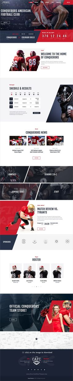 Conquerors is clean and modern design responsive #WordPress themef or amaerican #football or any #sports club website to download click on image.