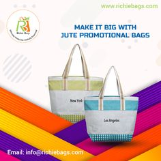 Make a practical choice for brand promotion, with customized jute promotional bags 👝👛👜💼🎒🛍. Choose a style, decorate with logos, promotional messages 💬or motivating quotes‼️. There is so much 😃 you can do with it. Email us for quote at 📧info@richiebags.com  #promotionalbags #custombags #ecobags #wholesalebags #corporatepromotionalbags Promotional Bags, Motivating Quotes, Brand Promotion, Wholesale Bags, Custom Bags, Bag Making, Jute, Messages, Tote Bag