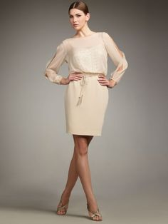 for date night & conferences: long sleeves, waist, just above the knee. super sexy & chic.