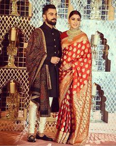 Best photos from Anushka Sharma and Virat Kohli's Delhi wedding reception Wedding Dresses Men Indian, Wedding Dress Men, Saree Wedding, Wedding Suits, Bridal Sarees, Wedding Attire, Manyavar Sherwani, Wedding Sherwani, Anushka Sharma And Virat