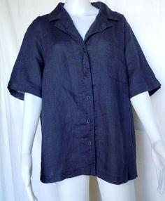 FLAX UNDERFLAX Dusk Shirt, Indigo Blue Linen, Sleepwear / Blouse, 1G (1X), NWOT #Flax #Blouse