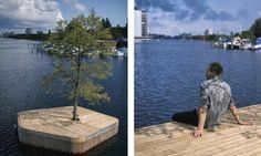 Marshall Blecher and Magnus Maarbjerg of Danish design studio Fokstrot designed an experimental floating island park in Copenhagen. Floating Architecture, Island Park, Set Sail, Environmental Science, Danish Design, Copenhagen, Kayaking, Garden Design, Deck