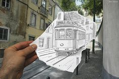 superimposed photography & pencil drawings