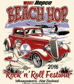 Whangamata Beach Hop 2016 T-shirt #beach #hop #rockandroll #festival #event #promotion #Tshirt #artwork