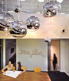 Mirror Ball lights from Tom Dixon, byword 'innovation' is in copper piping - The Interiors Group