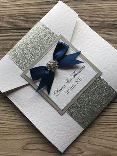 Glitter Wrap Pocketfold Wedding Invitation Holly by CanIDoUAFavour