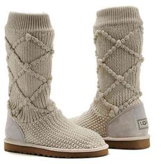 UGG Classic Argyle Knit Boots 5879 Cream for Charlotte Classic Ugg Boots, Ugg Classic, Knit Boots, Sweater Boots, Suede Boots, Ankle Boots, Gyaru, Soft Grunge, Ugg Winter Boots