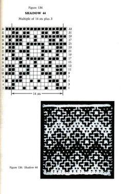 Mosaic Knitting Barbara G. Walker (Lenivii gakkard) Mosaic Knitting Barbara G… Intarsia Patterns, Fair Isle Knitting Patterns, Knitting Charts, Afghan Crochet Patterns, Crochet Chart, Mosaic Patterns, Crochet Motif, Knitting Stitches, Knitting Designs