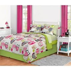 Pink and Green Owl Full Comforter Set - 8 Pcs