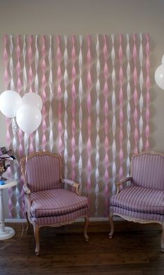 cute backdrop for where ever we plan on opening gifts. pink & white or pink & gray. Also do with purple or blue