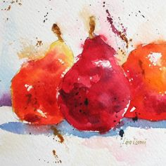 pears, fruit, red, orange, watercolor, painting, fine art, Lisa Livoni, Napa Valley artist, colorist