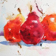 pears, fruit, red, orange, watercolor, painting, fine art, Lisa Livoni, Napa Valley artist, colorist