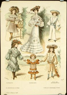 Fashionable childrens' clothing from Le Moniteur de la Mode, September The girl's dress in the upper corner is strikingly similar to this dress I posted last week. 1900s Fashion, Edwardian Fashion, Vintage Fashion, Jean Délavé, Gibson Girl, Edwardian Era, Little Girl Dresses, Illustrations, Fashion Plates