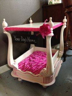 Princess Dog Bed with Canopy . Princess Dog Bed with Canopy . My French Inspired Diy Pet Bed Made From A Dresser Drawer Puppy Beds, Pet Beds, Doggie Beds, Cool Dog Beds, Doggies, Princess Dog Bed, Dog House Bed, Diy Dog Bed, Dog Furniture