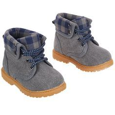 So cute! Koala Baby Boys Hard Sole Lumberjack Boots - Blue/Gray - Babies R Us - Babies R Us