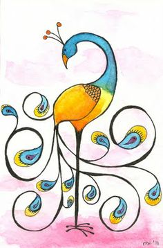 Bird Swirly Girly Peacock This would be an awesome tattoo Tole Painting, Fabric Painting, Peacock Art, Happy Paintings, Whimsical Art, Bird Art, Indian Art, Rock Art, Doodle Art