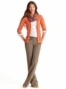 Business casual/Church casual- khaki pants, white button-up, orange cardigan