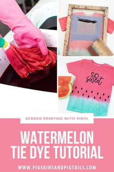 Make your own tie dyed watermelon shirts by dipping the shirt in red and green dye. Then, use your Cricut or Silhouette to cut a design and the seeds. Screen print the final touch on your shirts. Watch the full tutorial video.