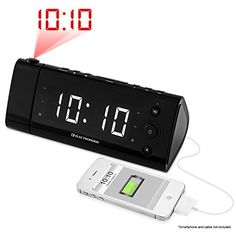 Electrohome® USB Charging Alarm Clock Radio with Time Projection, Battery Backup, Auto Time Set, Dual Alarm, 1.2″ LED Display for Smartphones & Tablets (EAAC475W)