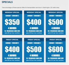 Take advantage of these special offers for transportation services in Washington, DC metro area.