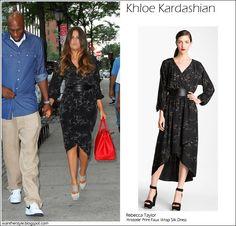 WHAT SHE WORE: Khloe Kardashian in Rebecca Taylor Aristotle Print Faux Wrap Silk Dress #fashion #outfit #dress #maxi #midi #print #style #kardashian #khloe #streetstyle #elegant