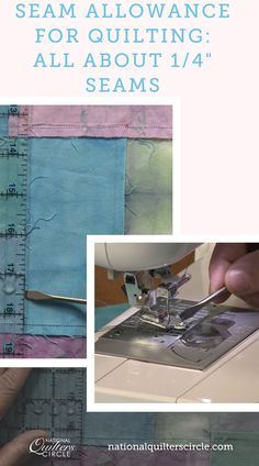 """When it comes to quilting, almost all patterns are written using a ¼"""" seam allowance. If you come from a garment sewing background and are used to a ⅝"""" seam allowance this can seem small, but Heather Thomas explains why the ¼"""" seam allowance is used. Quilting Tools, Quilting Tutorials, Machine Quilting, Sewing Tips, Sewing Hacks, Sewing Tutorials, Quilt Patterns, Sewing Patterns, Sewing Machine Projects"""