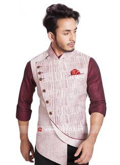 Sleeveless Khadi Silk Off White Color Koti. #rajwadi #menswear #mensfashion #suit #FeelRoyal #Menskoti #stylish #dapper #designer
