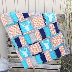 Rag Quilt and Baby Blanket With Deer by avisiontoremember on Etsy