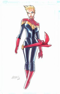 Captain Marvel commission by Humberto Ramos