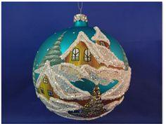 "Glass Ball 5"" Turq Hand Painted Winter Snow Scene Christmas Ornament 029008t #GlassOrnaments"