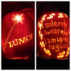 I look forward to carving pumpkins all year. Gotta love Harry Potter! 2013 pumpkin #1 front and back. Harry Potter pumpkin